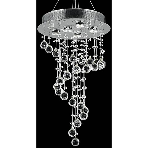 """Galaxy 16"""" Wide Chrome and Crystal Small 5-Light Chandelier"""