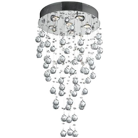 "Galaxy 18"" Wide Chrome and Crystal 6-Light Chandelier"
