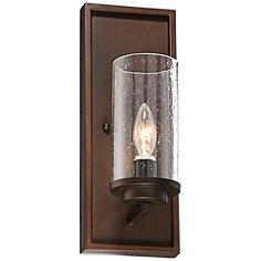 """Nobel 14"""" High Glass and Bronze Wall Sconce"""