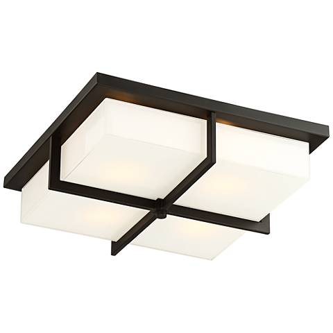 Possini Euro Giordano Bronze Square 4-Light Ceiling Light