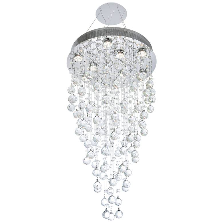 """Galaxy 20"""" Wide Chrome and Crystal 9-Light Chandelier"""