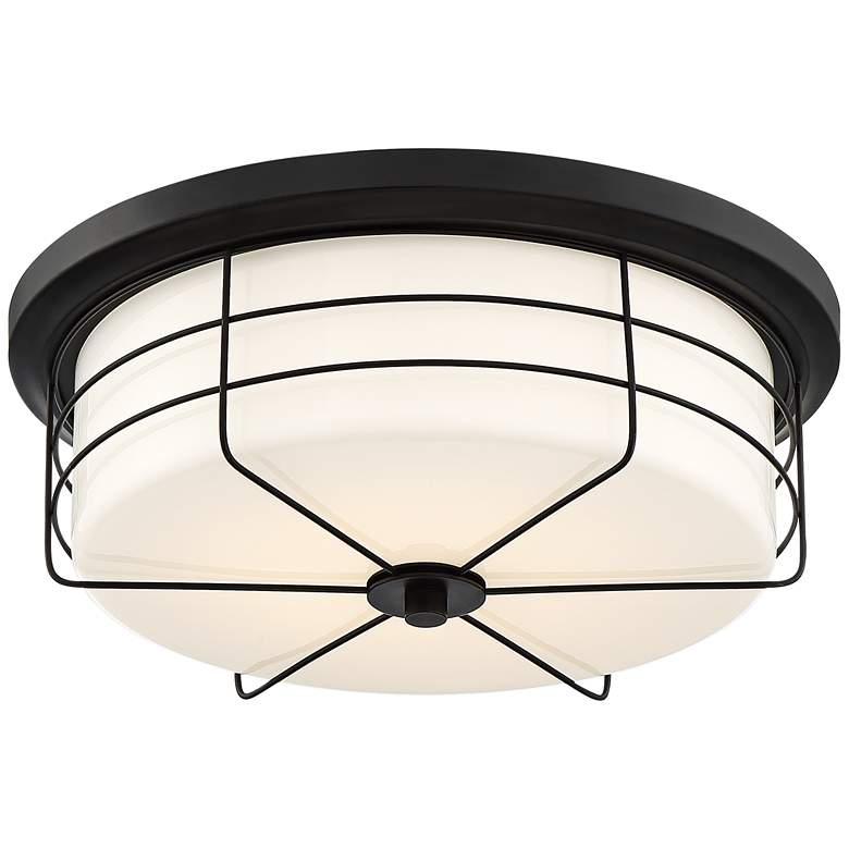 """Lovett 14"""" Wide Matte Black LED Ceiling Light"""