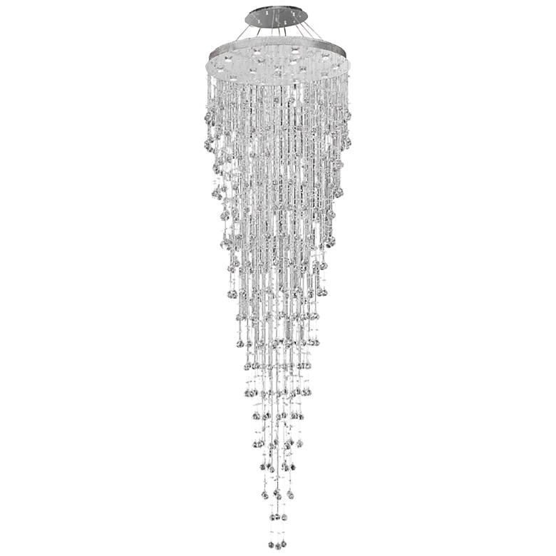 """Galaxy 36"""" Wide Chrome and Crystal 16-Light Chandelier"""
