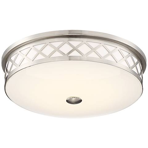 "Belinda 12 1/2"" Wide Diamond Satin Nickel LED Ceiling Light"