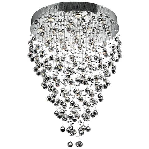 """Galaxy 28"""" Wide Chrome and Crystal 12-Light Chandelier"""