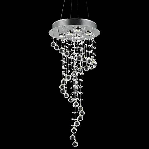 "Galaxy 16"" Wide Chrome and Crystal Large 5-Light Chandelier"