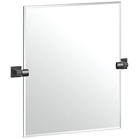 "Elevate Matte Black 23 1/2"" x 24"" Frameless Wall Mirror"