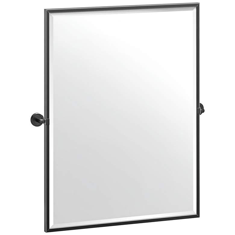 "Latitude II Matte Black 27 3/4"" x 32 1/2"" Framed Wall Mirror"