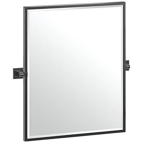 "Elevate Black 23 3/4"" x 25"" Framed Rectangular Wall Mirror"