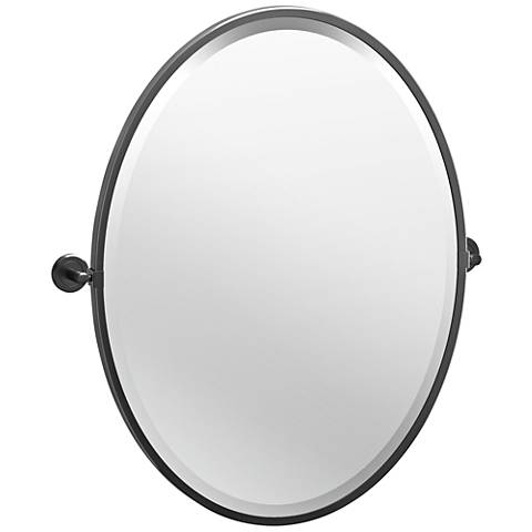"Latitude II Black 23 3/4"" x 27 1/2"" Framed Oval Wall Mirror"