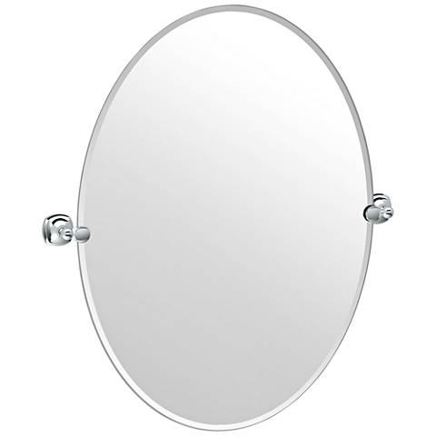 """Lucerne Chrome 28 3/4"""" x 32"""" Frameless Oval Wall Mirror"""