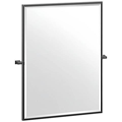 """Gatco Bleu Matte Black 27 1/2"""" x 32 1/2"""" Framed Wall Mirror"""