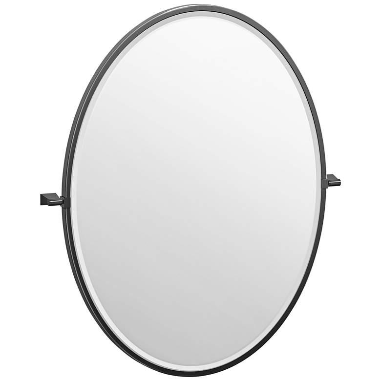 """Gatco Bleu Matte Black 28"""" x 33"""" Framed Oval Wall Mirror"""