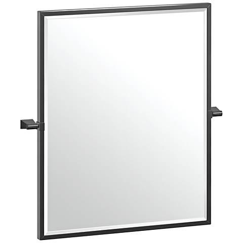 """Gatco Bleu Matte Black 23 1/2"""" x 25"""" Framed Wall Mirror"""