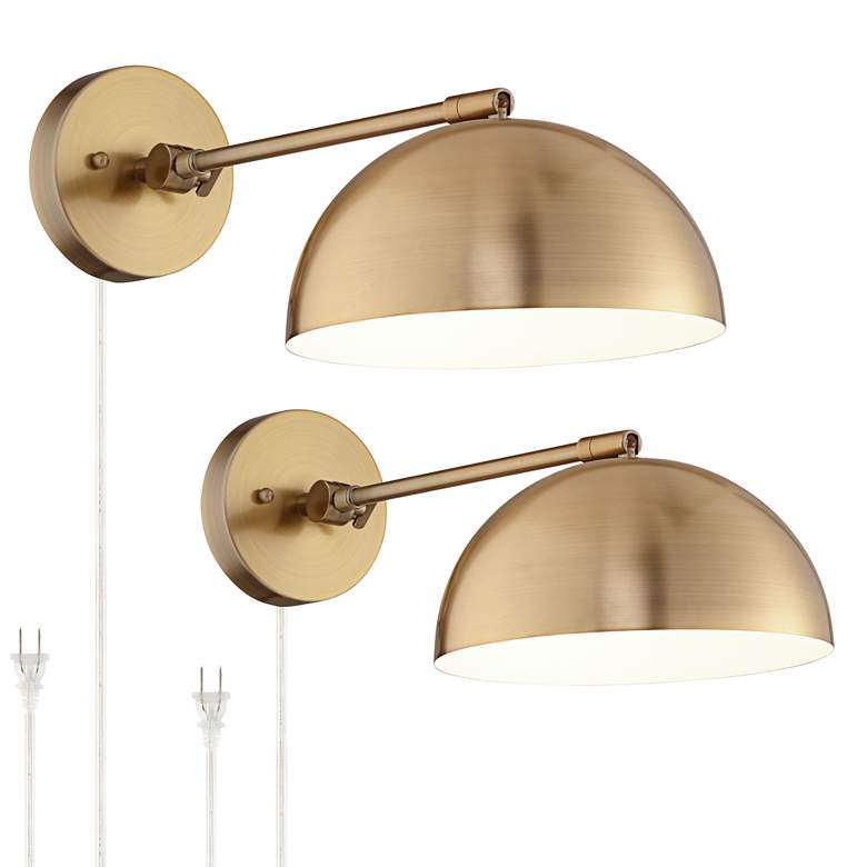 Brava Antique Brass Down-Light Wall Lamp Set of 2