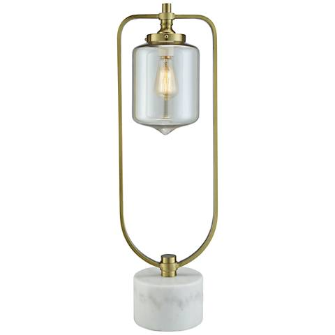 Barclay Soft Brass and White Marble Uplight Table Lamp