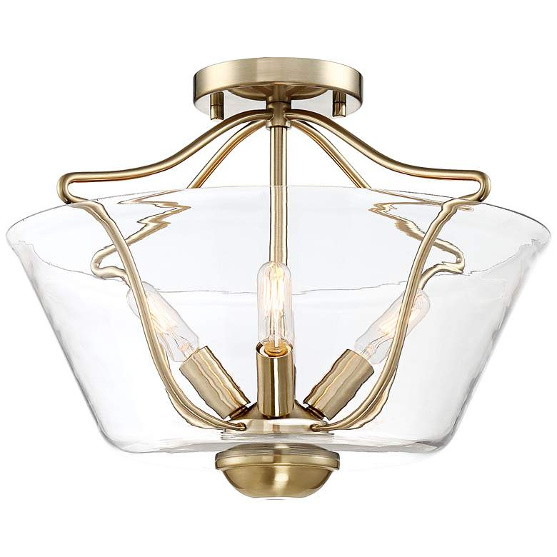 "Gale 16"" Wide Warm Brass Ceiling Light"