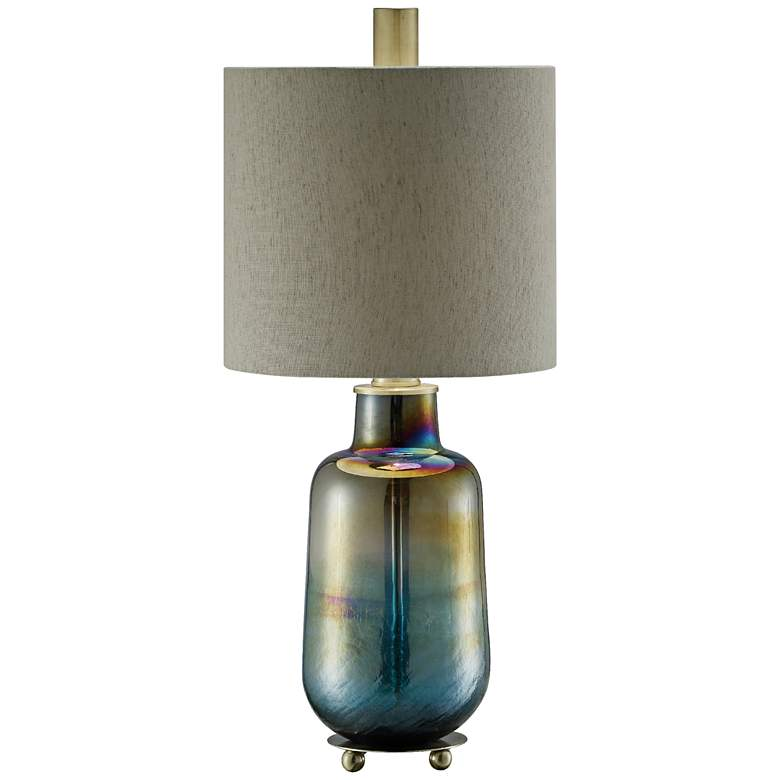 Crestview Collection Ava Teal Iridescent Glass Table Lamp