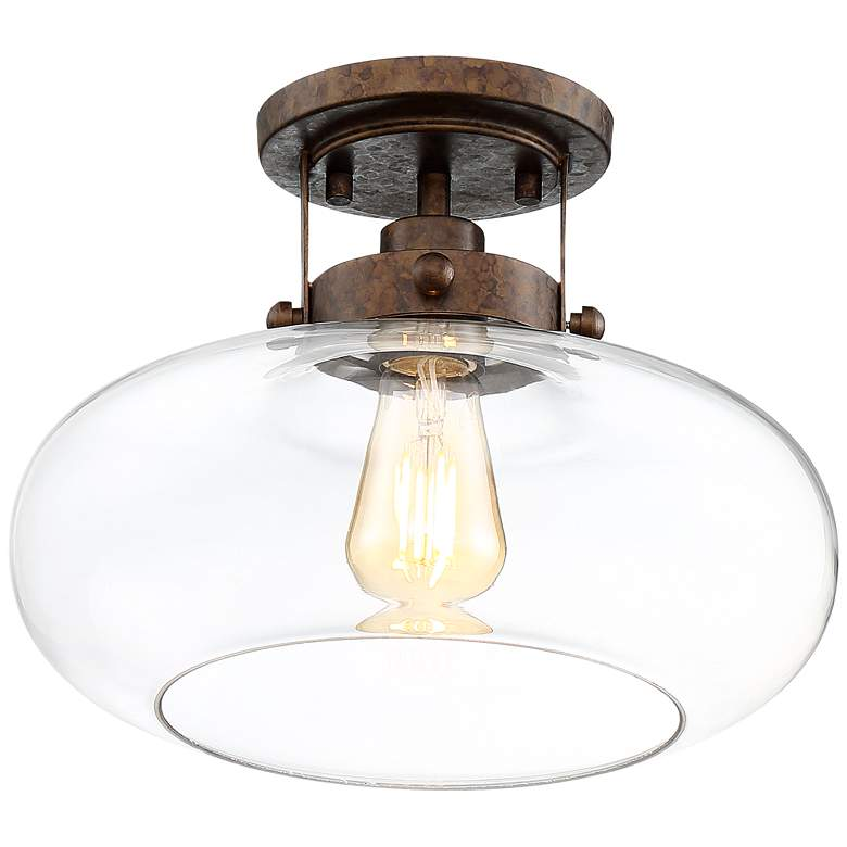 """Chester 12"""" Wide Glass and Rustic Bronze Ceiling Light"""