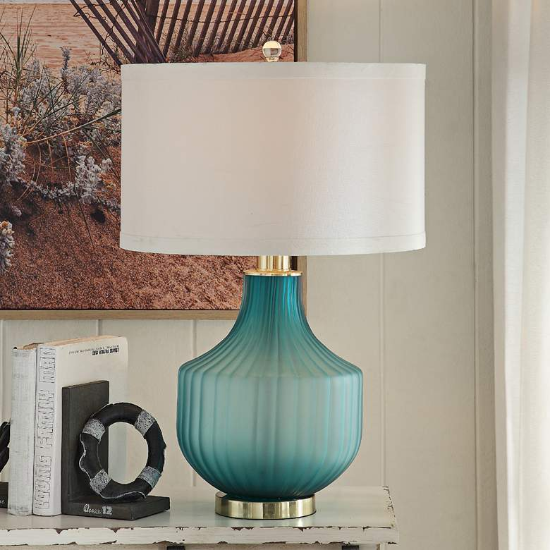Isabella Frosted Turquoise Glass Table Lamp