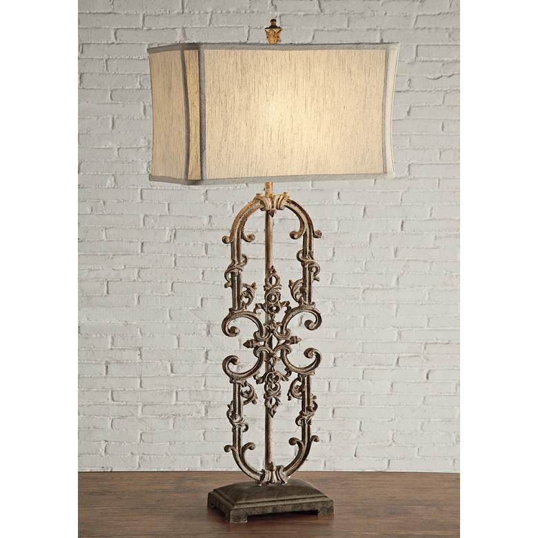 Crestview Collection Madison Antique White Iron Table Lamp
