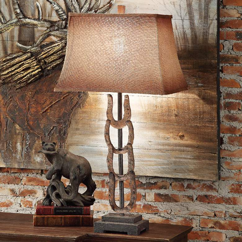 Crestview Collection Horseshoe Rustic Metal Table Lamp