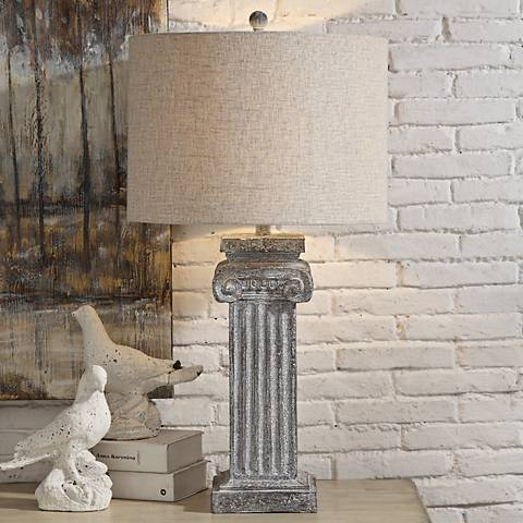 Crestview Collection Greek Column White Wash Table Lamp