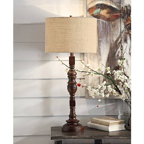 Crestview Collection Corbal Antique Brown Wood Table Lamp