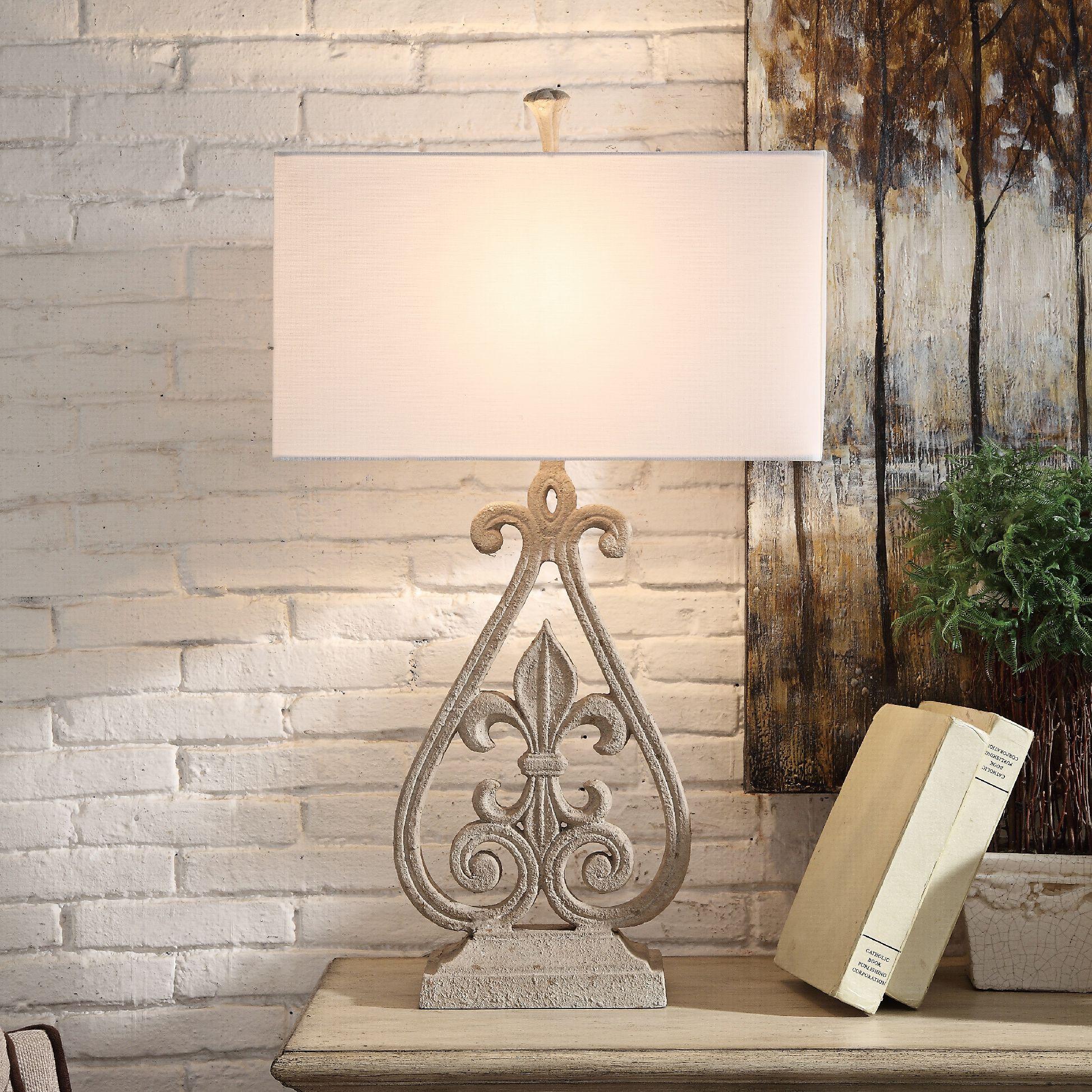 Crestview Collection Fleur De Lis Antique White Table Lamp