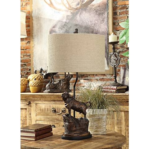 Crestview Collection Bull Head Antique Bronze Table Lamp