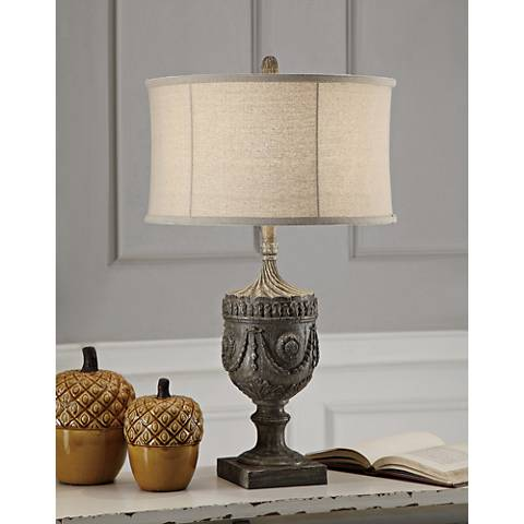 Crestview Collection Morgan Gray Wash Wood Table Lamp