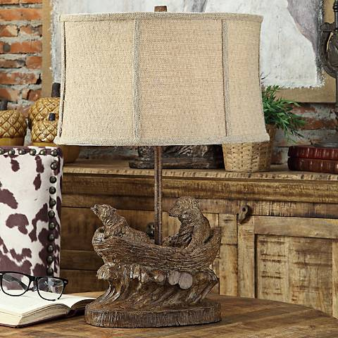 Crestview Collection Bear Expedition Rustic Wood Table Lamp
