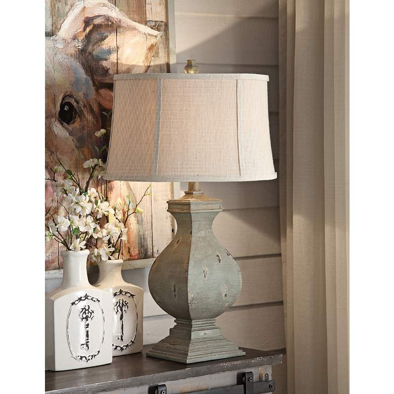 Crestview Collection Easton Tarnished Green Wood Table Lamp