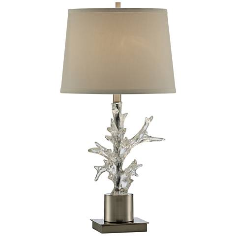 Crystal Coral Clear and Chrome Table Lamp