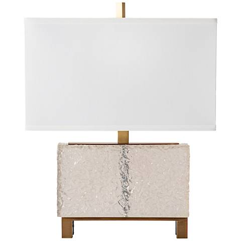 Glacier Clear and Antique Brass Accent Table Lamp