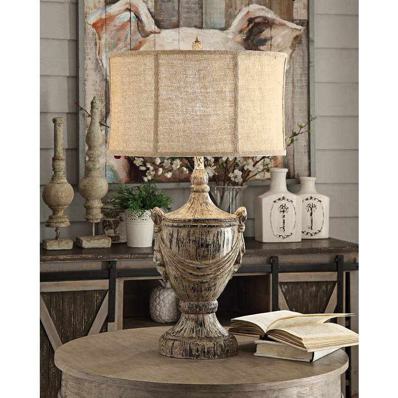 Crestview Collection Jameson Bony Wood Table Lamp