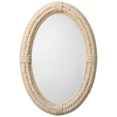 """Jamie Young Delta White Rope 26"""" x 38"""" Oval Wall Mirror"""