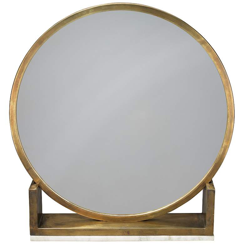 "Jamie Young Odyssey Antique Brass 24"" x 25"" Standing Mirror"