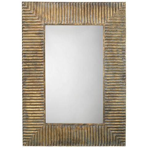 "Jamie Young Slatted Antique Brass 29"" x 41"" Wall Mirror"