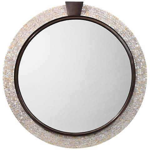 """Jamie Young Thea Mother of Pearl 36"""" Round Wall Mirror"""