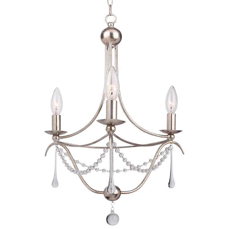 "Crystorama Metro 15 1/2""W Antique Silver 3-Light Chandelier"