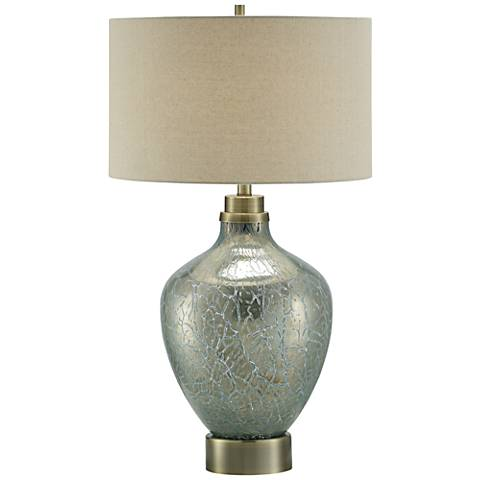 Crestview Collection Celest Blue and Silver Glass Table Lamp