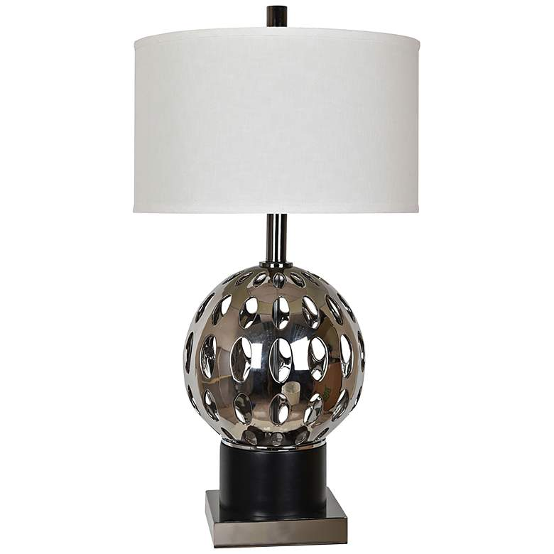 Crestview Collection Mercer Chrome and Black Table Lamp