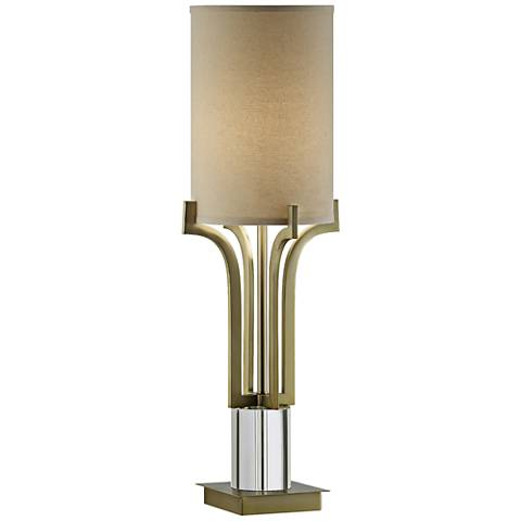 Aurora Soft Brass and Crystal Uplight Table Lamp