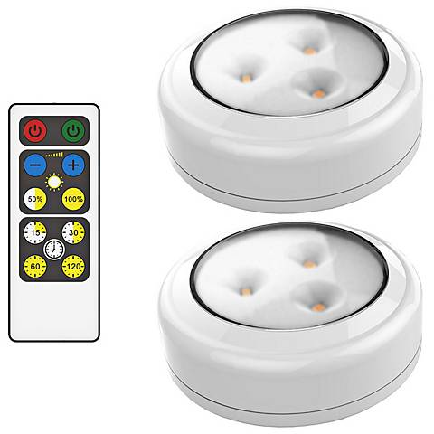 Set of 2 Brilliant Evolution LED Puck Lights with Remote