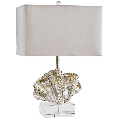 Giant Clam Shell Ambered Silver Leaf Table Lamp