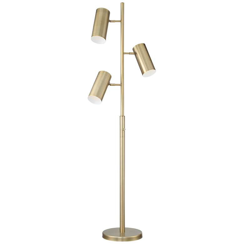 Possini Euro Canasta Trac Tree Floor Lamp Satin Brass