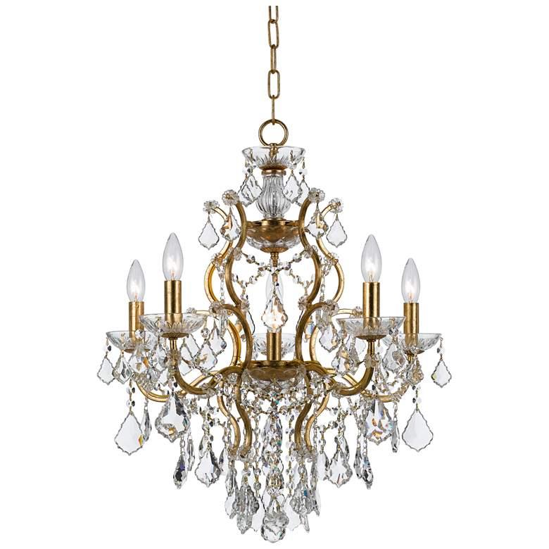 """Filmore 23"""" Wide Antique Gold 6-Light Crystal Chandelier"""