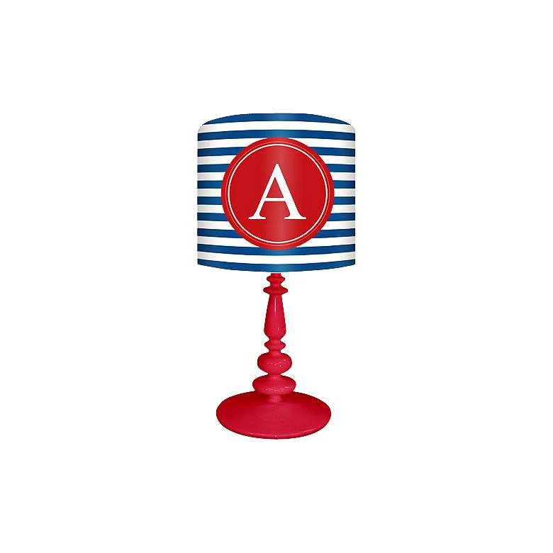 """Blue And Red """"A"""" Striped Monogram Kids Table Lamp"""