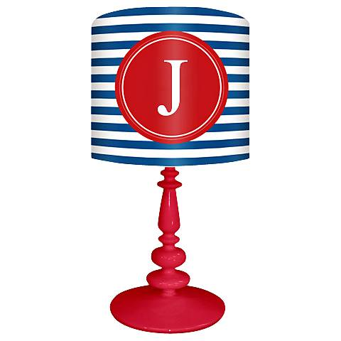 "Blue And Red ""J"" Striped Monogram Kids Table Lamp"